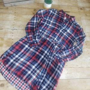 EUC Gap Plaid Shirt Dress Belted Waist